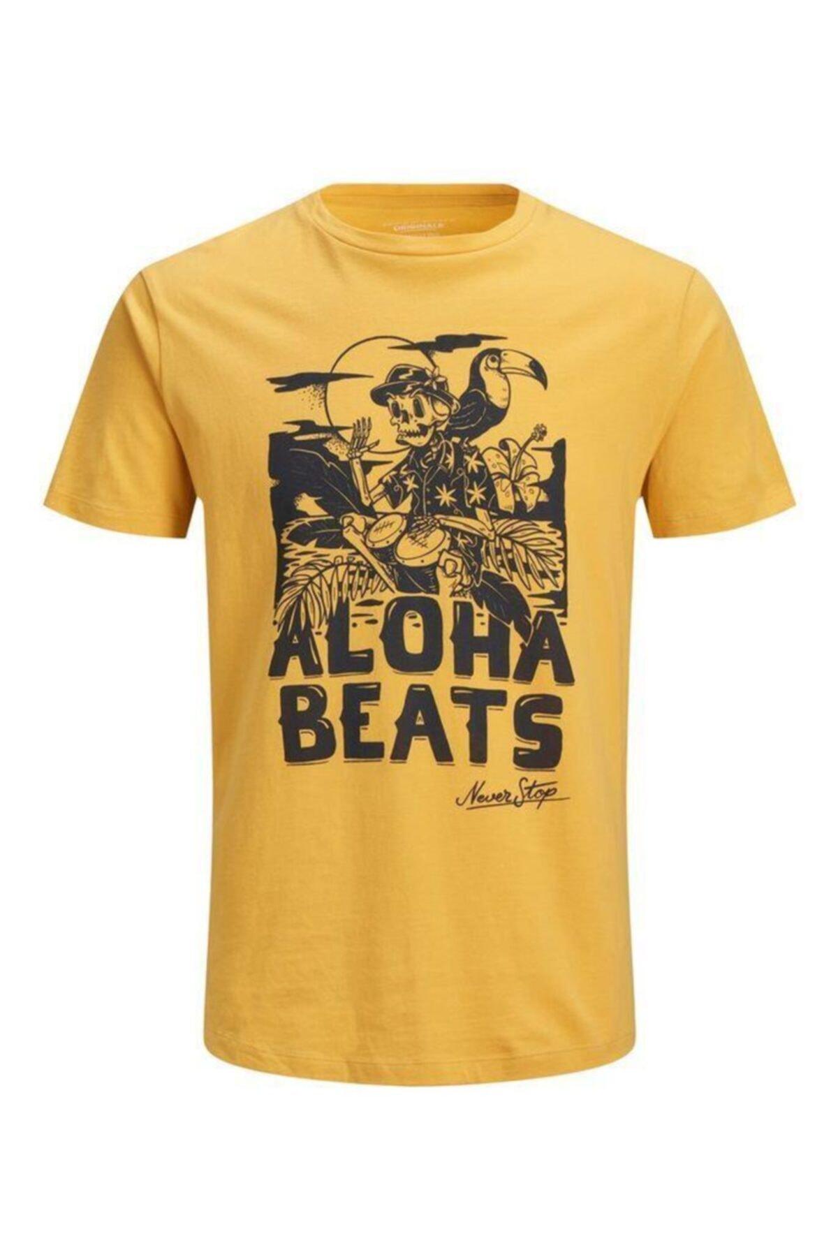 Jack & Jones Jack&jones Joroctobooze Sarı Erkek Tişört 12153595 1