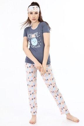 ModaPijama Manolya Kadın Gri Pamuklu Kısa Kollu Pijama Takımı