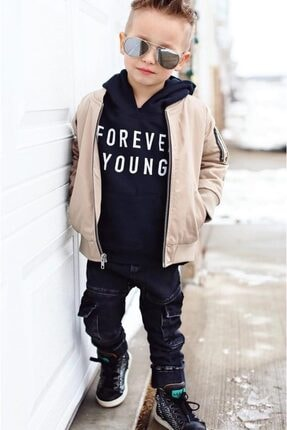 Riccotarz Unisex Çocuk Forever Young Bej Ceketli Alt Üst Takım