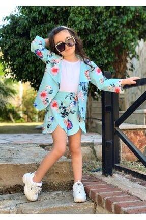 Riccotarz Kız Çocuk Blazer Ceketli Mavi Şortlu Takım