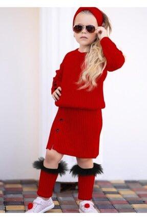 Riccotarz Kız Çocuk Süslü Kırmızı Triko Etekli Takım