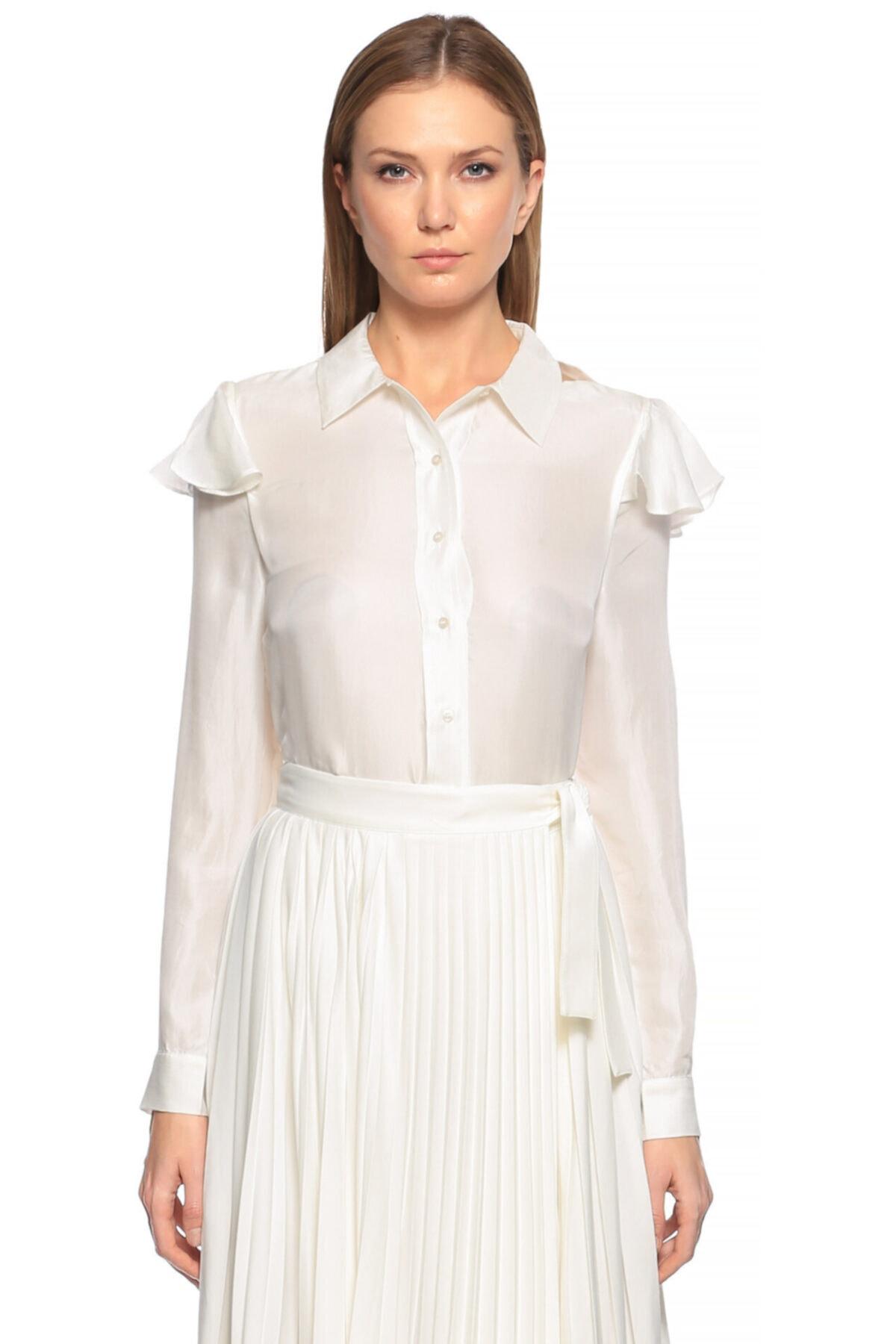 Maje Kadın Beyaz Fırfırlı Gömlek 1