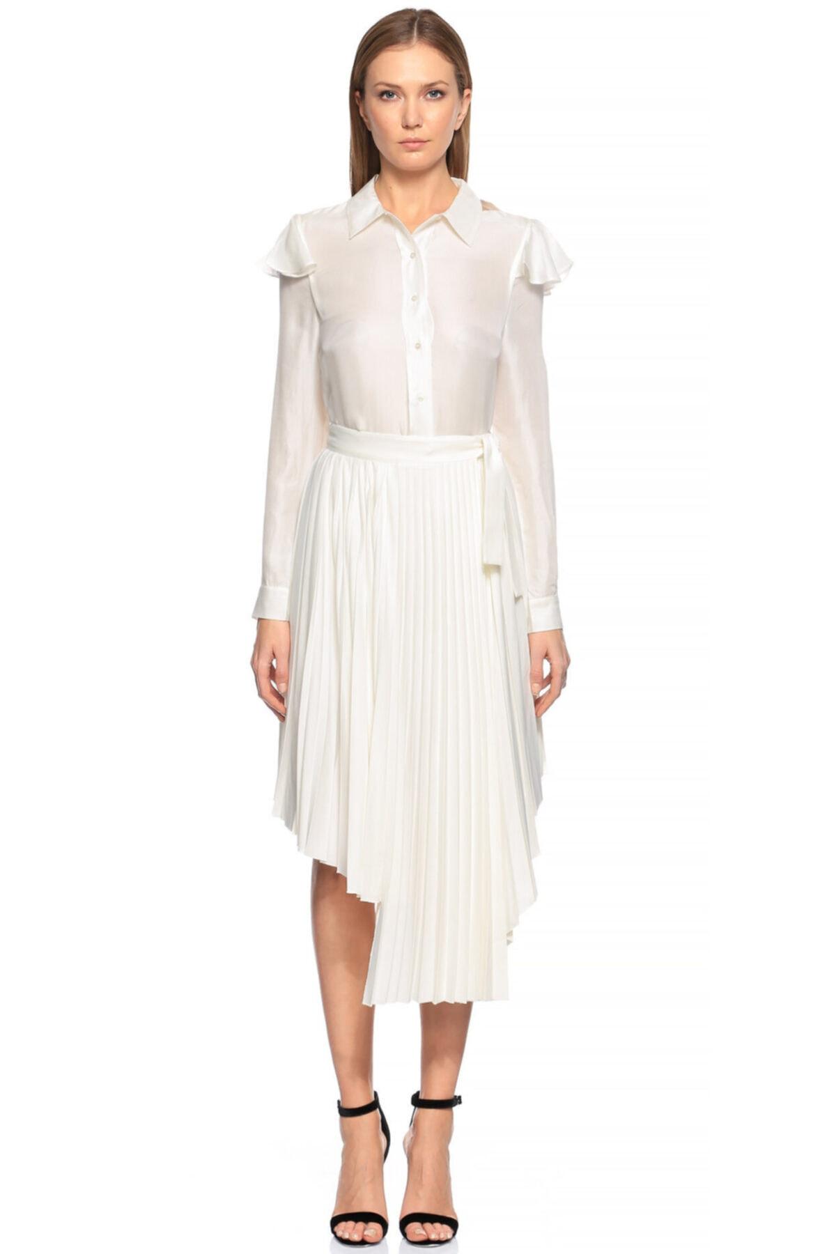 Maje Kadın Beyaz Fırfırlı Gömlek 2