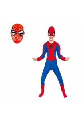 SPIDERMAN Kostümü Örümcek Adam Kostüm 2 Maskeli