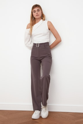 TRENDYOLMİLLA Antrasit Kemerli Pantolon TWOSS21PL0104