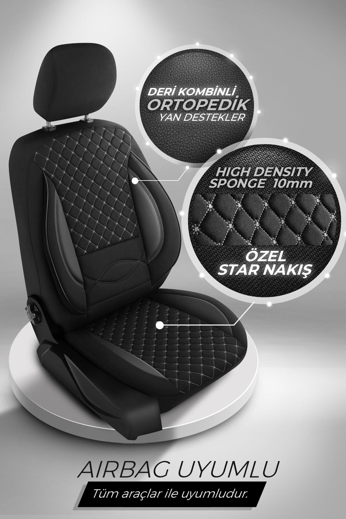 Deluxe Boss Ortopedik Oto Koltuk Kılıfı - Star Serisi - Siyah Renk Füme Nakış 2