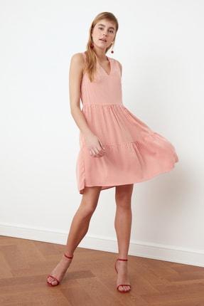 TRENDYOLMİLLA Kırmızı Çizgili Volanlı Elbise TWOSS20EL2900