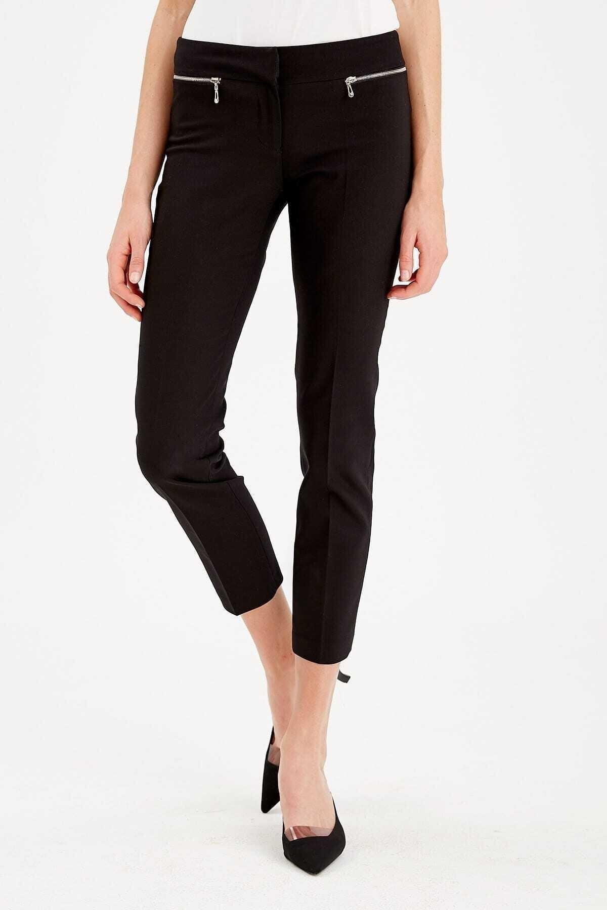 Journey Kadın Siyah Kemer Altı Metal Fermuarlıdar Paça Bilekte Pantolon 19ypnt060 1