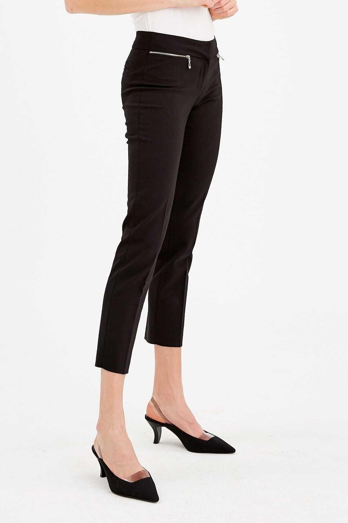 Journey Kadın Siyah Kemer Altı Metal Fermuarlıdar Paça Bilekte Pantolon 19ypnt060 2