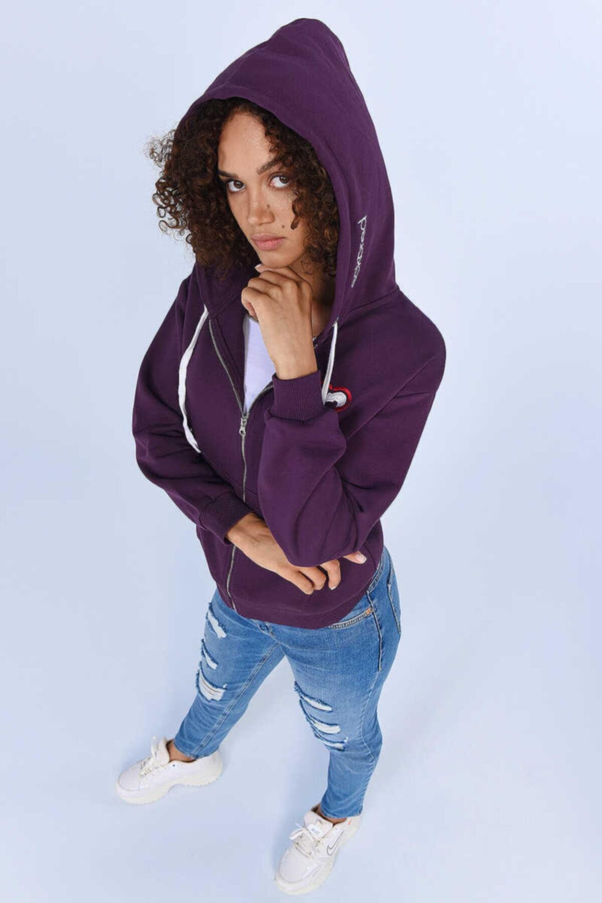 ECKO UNLTD ECKO RED HEIDI Mor Kadın Nakışlı Fermuarlı Sweatshirt 1