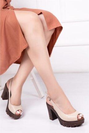 Deripabuc Hakiki Deri Bej Kadın Platform Topuklu Deri Sandalet Dp26-0300
