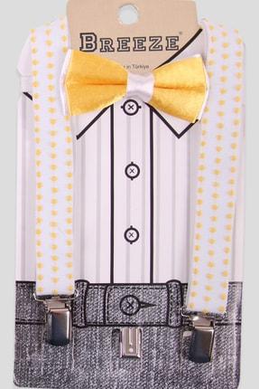 Breeze Erkek Çocuk Sarı Puantiyeli Papyonlu Pantolon Askısı 1-10 Yaş