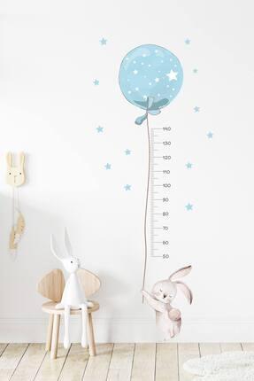 KT Decor Mavi Balonlu Tavşan Boy Ölçer Duvar Sticker Seti