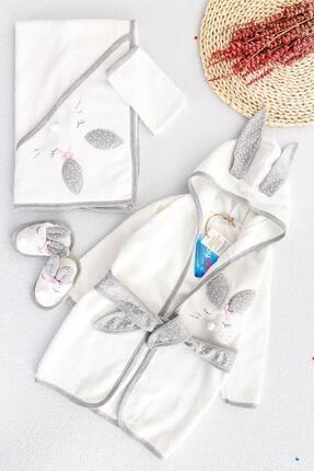 Babymod Tavşan Figürlü Bebek Banyo Havlu Bornoz Seti