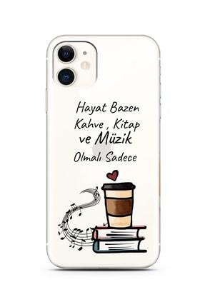 POFHİ Huawei Mate 10 Lite Kahve Kitap Müzik Tasarımlı Şeffaf Telefon Kılıfı