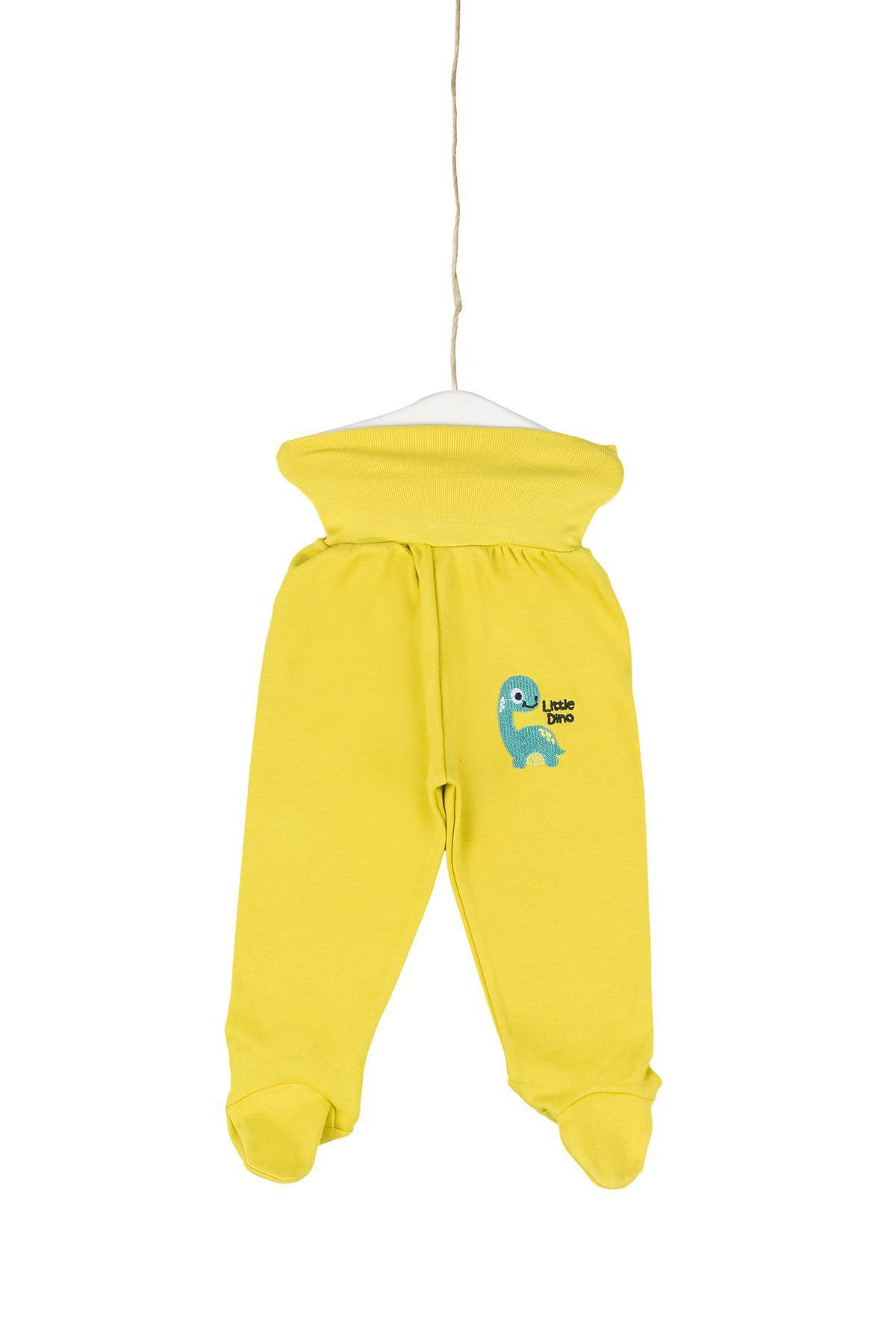 Aziz Bebe Little Dino Nakışlı Patikli Pantolon 0-12 Ay AZZ082059