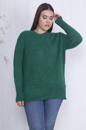 Şans Kadın Yeşil Yırtmaçlı Triko Kazak 65N22066