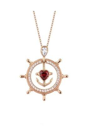 Harem Altın Gemi Dümeni Kalpli Çapa Rose Renk Gümüş Kolye Gms1992