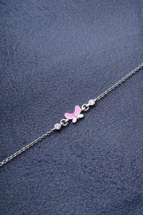 İn Dubai Silver Kız Çocuk Pembe Zirkon Taşlı Kelebek Bileklik Dbsc4024