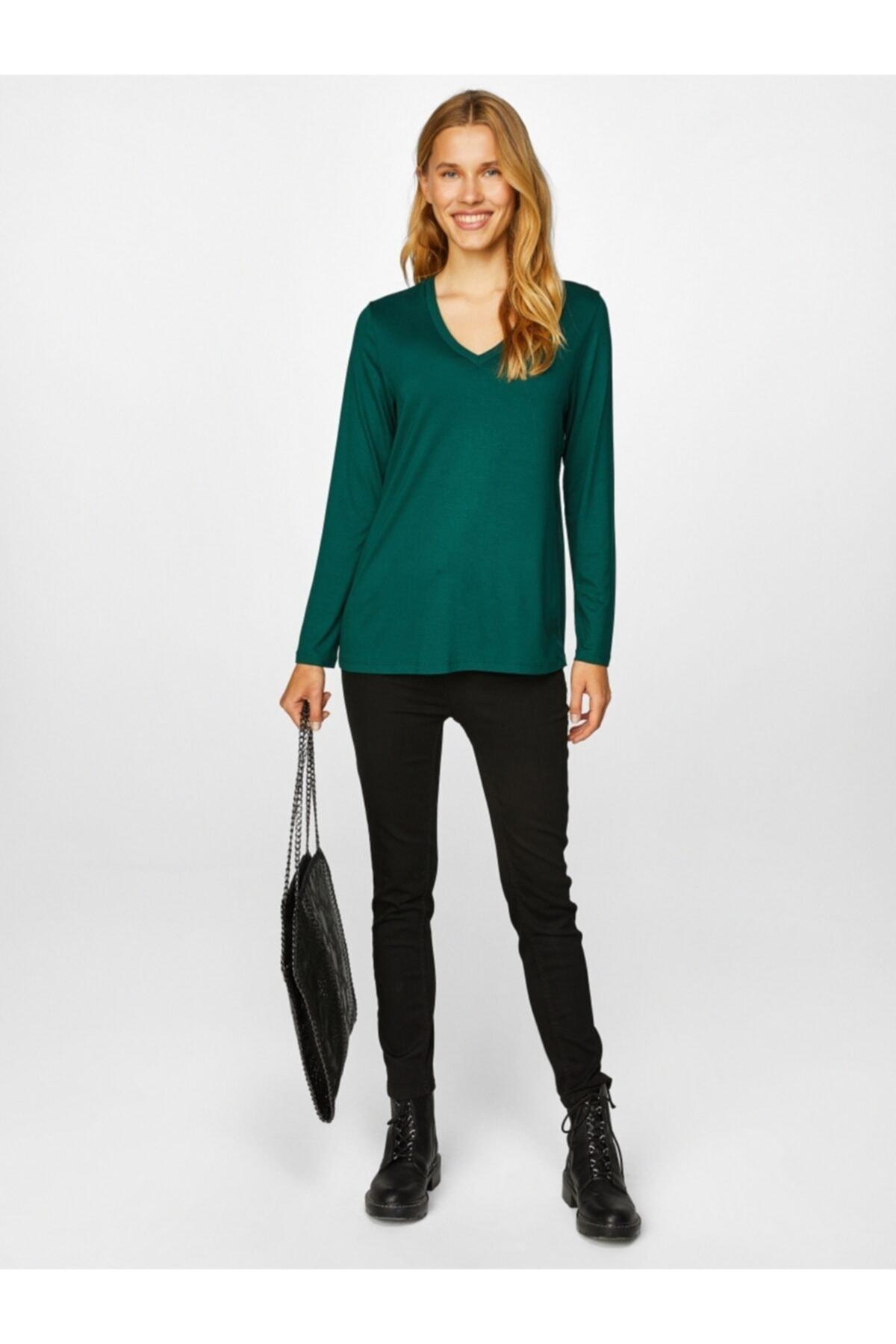 Faik Sönmez Kadın V Yaka Uzun Kol T-shirt 61022 2