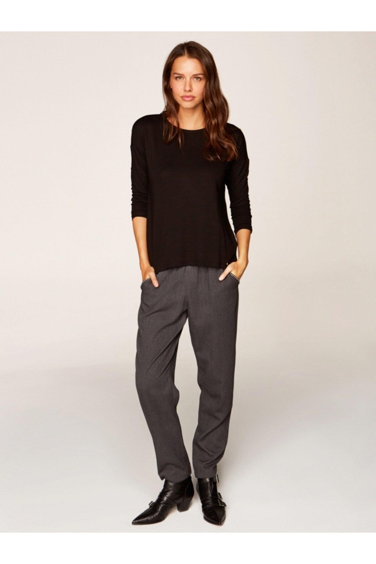 Faik Sönmez Kadın Siyah Yuvarlak Yaka Uzun Kol T-shirt 00019 2