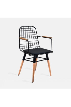 Theia Tasarım Ahşap Ayaklı Kolçaklı Tel Sandalye