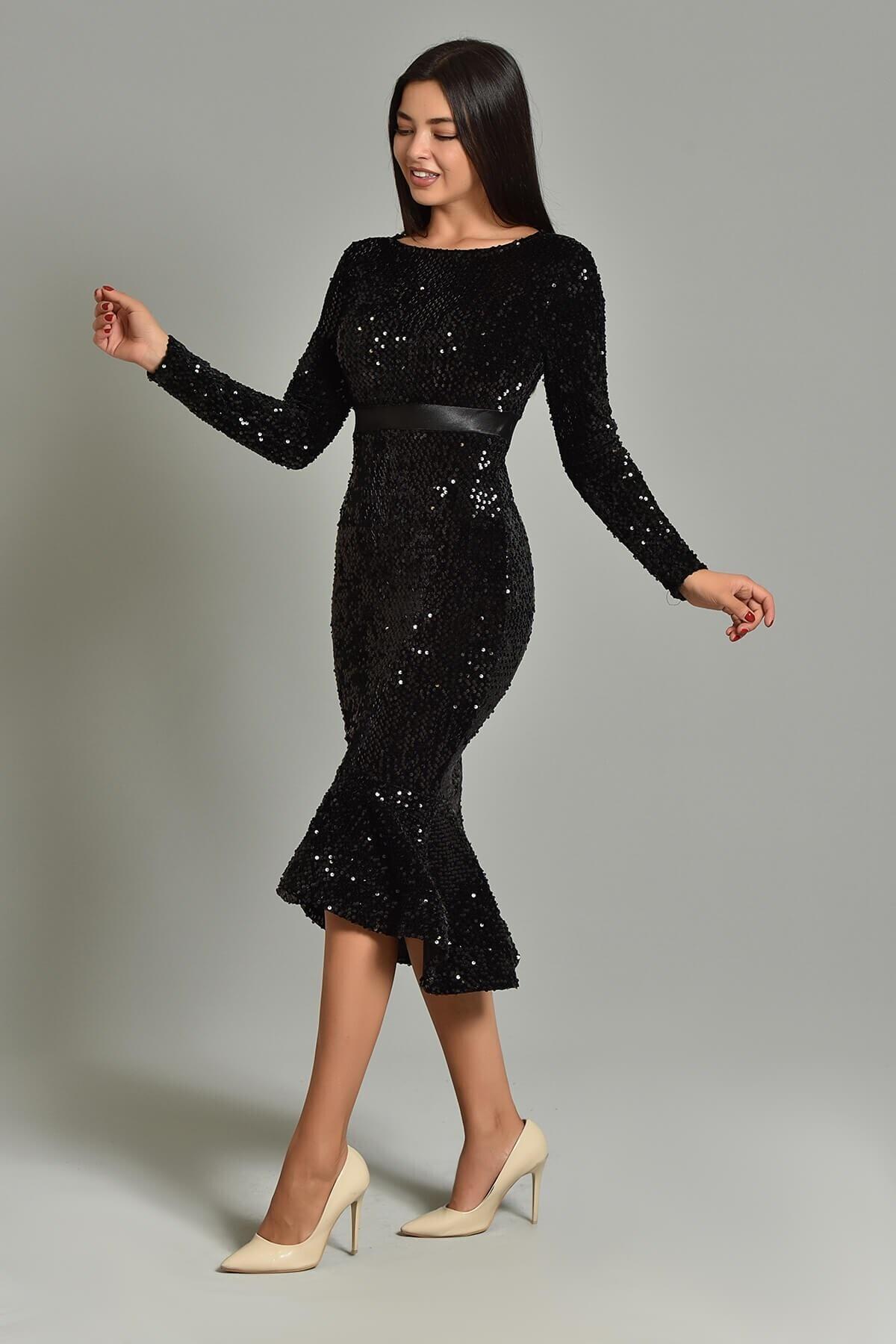 Modakapimda Siyah Pul Payet Eteği Volanlı Abiye Elbise 1