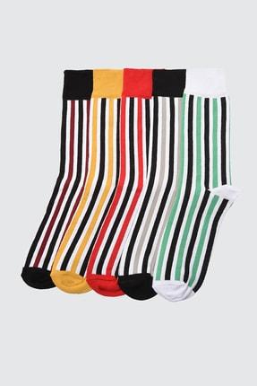 TRENDYOL MAN Çok Renkli Erkek Çizgili 5'li Paket Çorap TMNSS20CO0038
