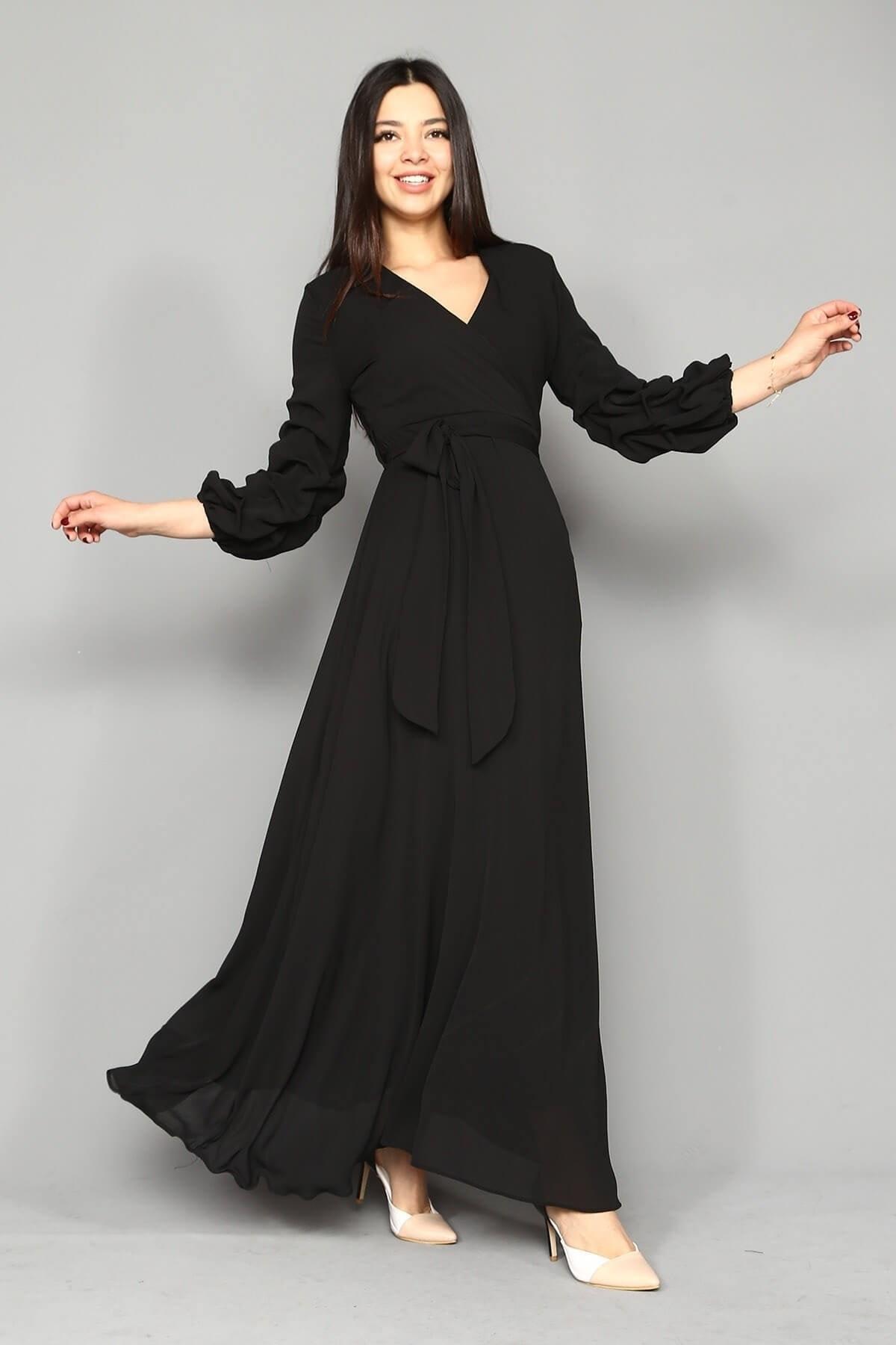 Modakapimda Siyah Kolları Büzgülü Uzun Şifon Elbise 2