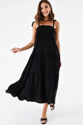 Modakapimda Siyah Omuzdan Bağlamalı Ip Askılı Gipeli Elbise