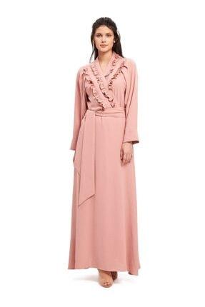 Mizalle Kadın Pudra Kruvaze Önü Fırfırlı Elbise