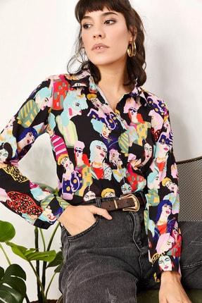Olalook Kadın Multi Kadın Figürlü Mos Krep Gömlek GML-19000713