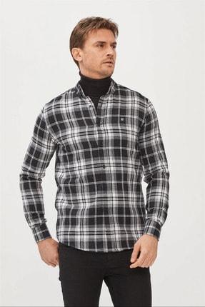 Avva Erkek Siyah-beyaz Ekoseli Düğmeli Yaka Regular Fit Gömlek A02y2319