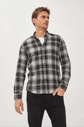 Avva Erkek Antrasit Ekoseli Düğmeli Yaka Comfort Fit Gömlek A02y2301