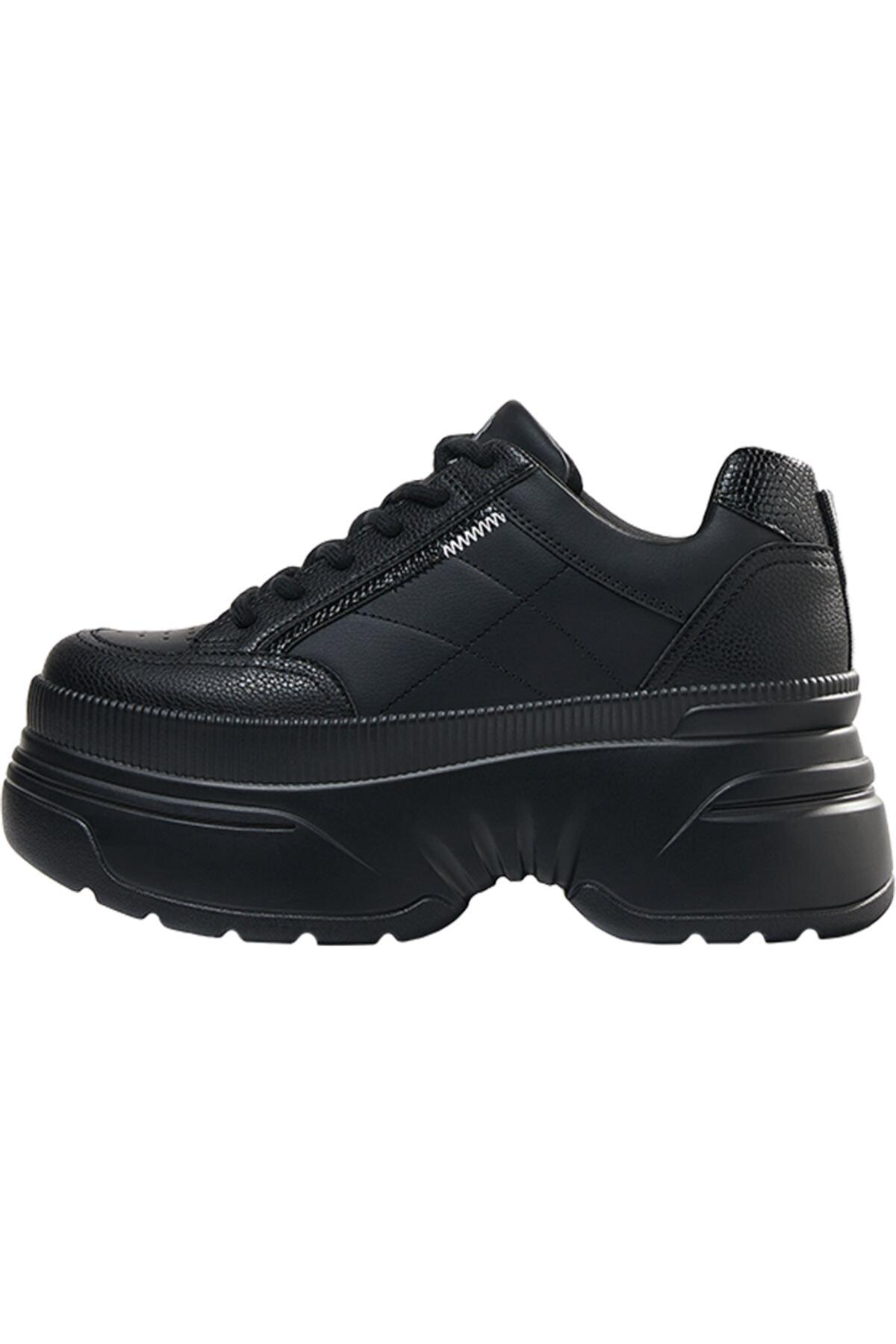 Bershka Kadın Siyah XL Platform Spor Ayakkabı 11506760 2