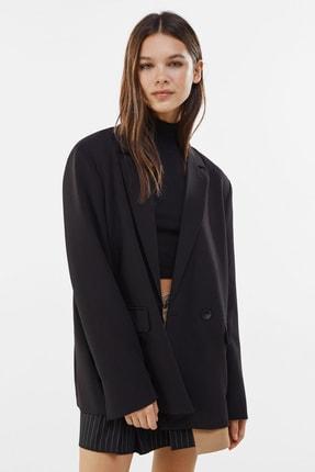 Bershka Kadın Siyah Dökümlü Düğmeli Blazer