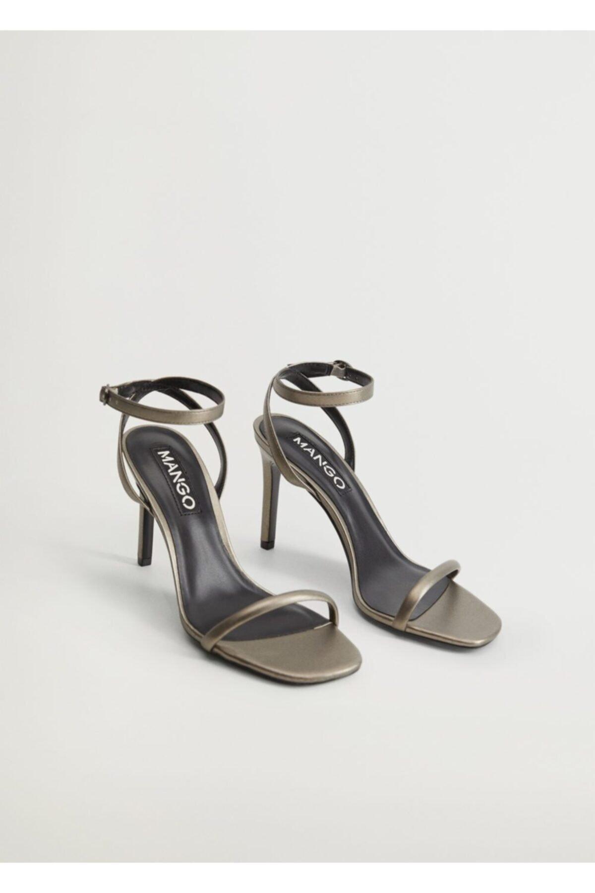 MANGO Woman Kadın Koyu Gümüş Rengi Timsah Derisi Desenli Bantlı Sandalet  77010043 1