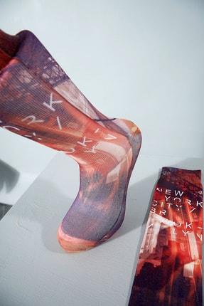 Sateen Men Erkek Mürdüm Dijital Baskılı Çorap
