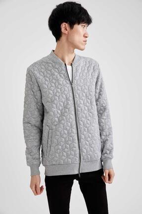 DeFacto Erkek Gri Bomber Slim Fit Desenli Fermuarlı Sweatshirt