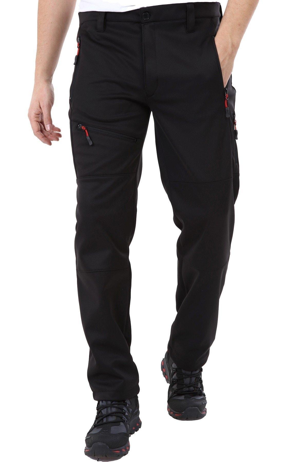GHASSY CO. Erkek Tactical Outdoor Su Geçirmez Siyah Softshell Pantolon 1