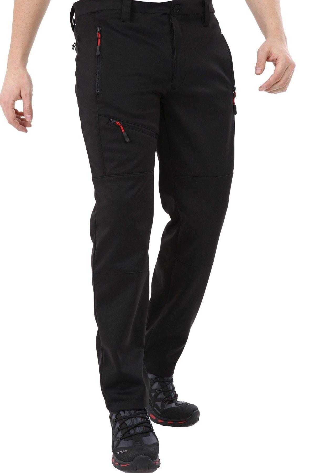 GHASSY CO. Erkek Tactical Outdoor Su Geçirmez Siyah Softshell Pantolon 2