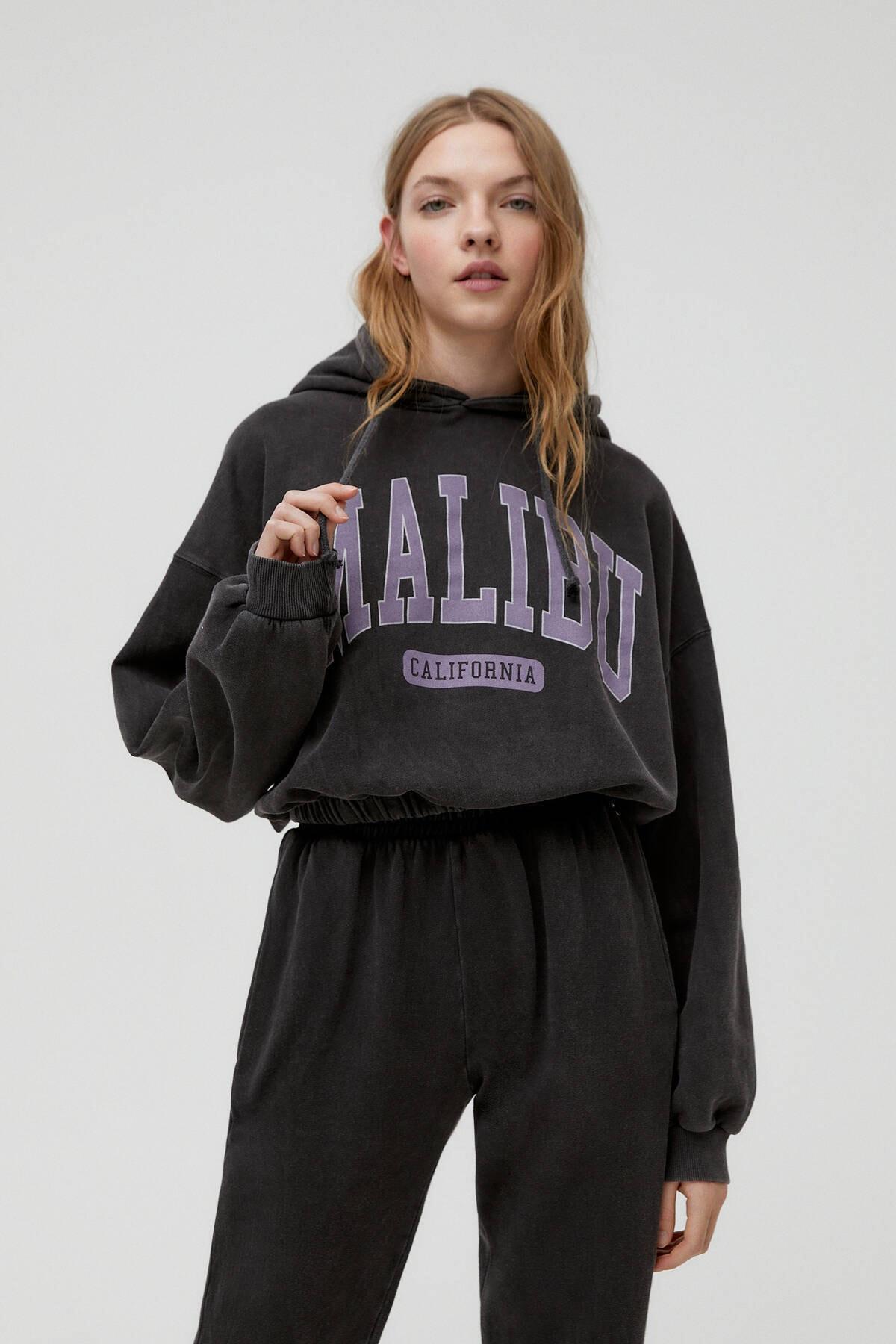 Pull & Bear Kadın Soluk Siyah Malibusweatshirt 04591340