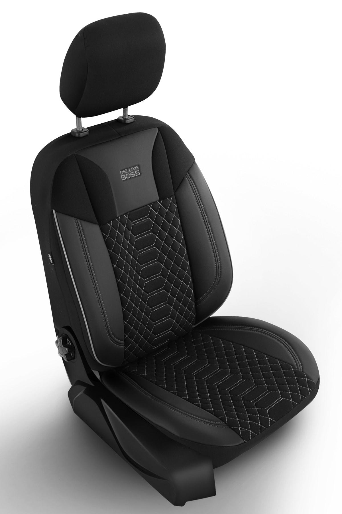 Deluxe Boss Special Oto Koltuk Kılıfı - Modena Serisi - Siyah Renk Füme Nakış 1