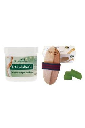 Krauterhof Doğal At Kılı Fırçası& Anti Cellulite Gel 250 ml+yosun Sabunu 3 Adet 125gr