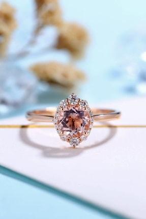 My Diamond Morganit Ve Pırlantalı Modern Tasarım Yüzük 14k Rose Altın