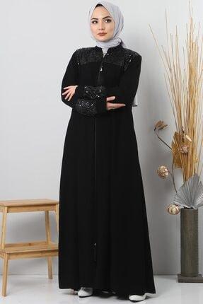 Tesettür Dünyası Pul Payetli Elbise Tsd1940 Siyah