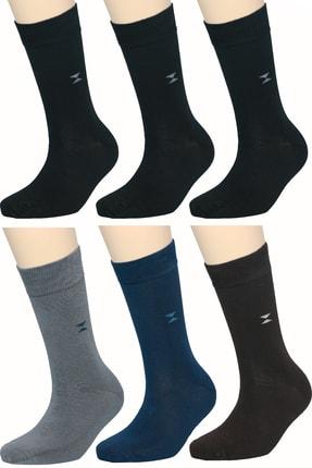 FandD 6'lı Bambu Çorap Soket Dikişsiz Asorti ( 3 Siyah 1 Laci- 1 Gri- 1 Kahve)