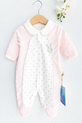 Babymod Kız Bebek Beyaz Pembe Kalp İşlemeli Uzun Kollu  Tulum
