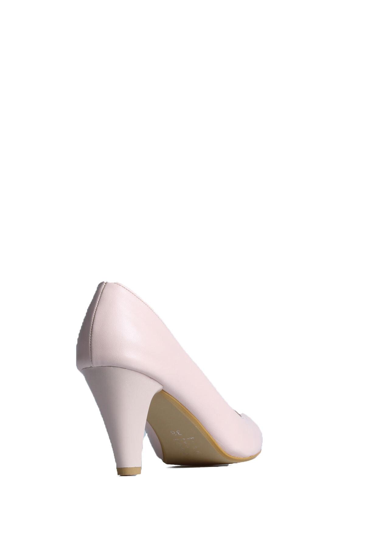 PUNTO Kadın Pudra Günlük Topuklu Ayakkabı 553009 2