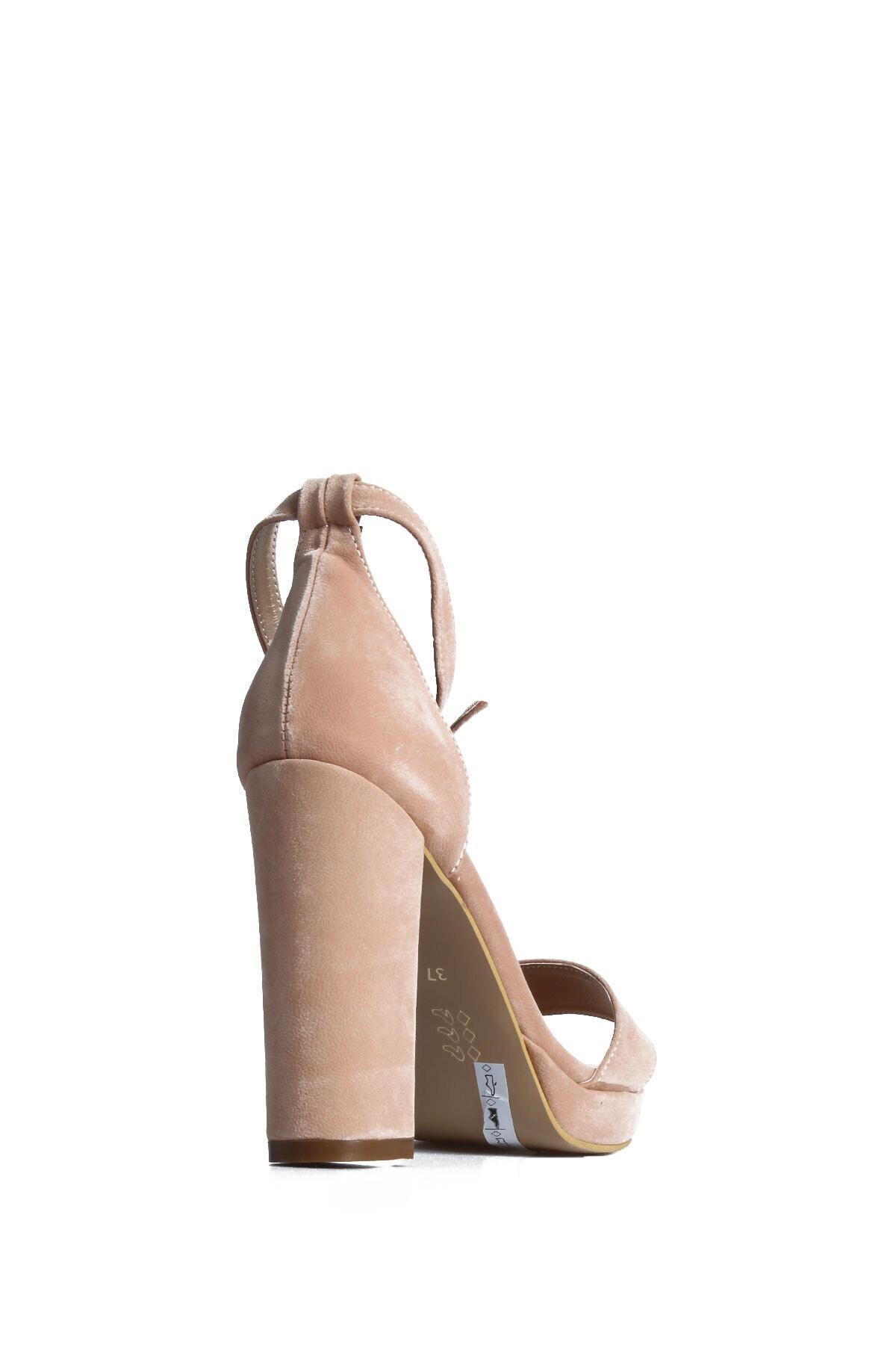 PUNTO Kadın Pudra Süet Günlük Topuklu Ayakkabı 2